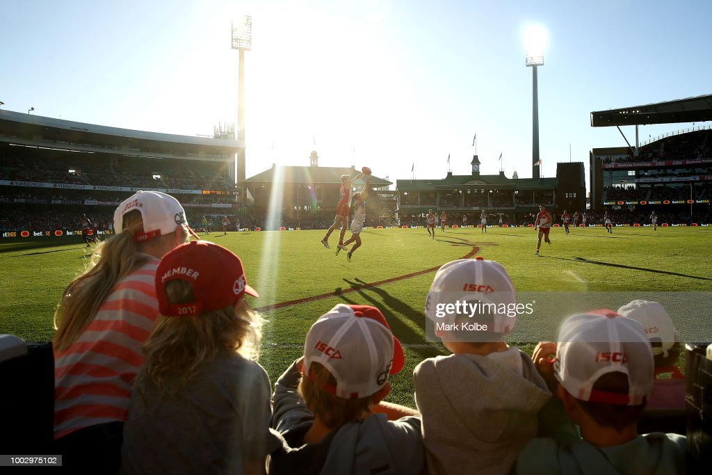 A general view is seen as children watch the action during the round 18 AFL match between the Sydney Swans and the Gold Coast Suns at Sydney Cricket Ground on July 21, 2018 in Sydney, Australia.