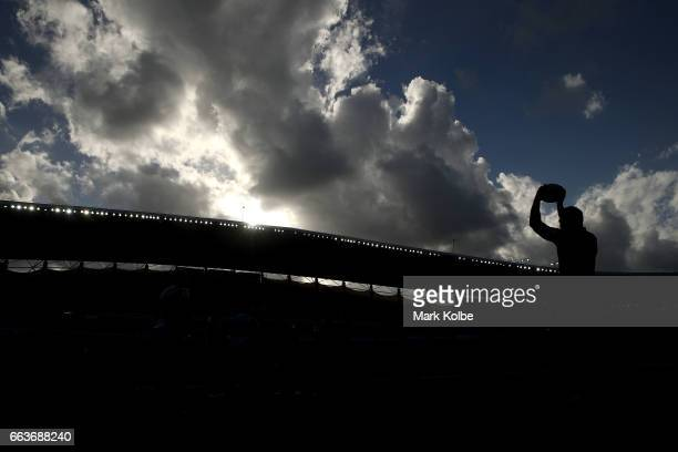 General view is seen as Codie Taylor of the Crusaders prepares to throw the ball into the lineout during the round six Super Rugby match between the...