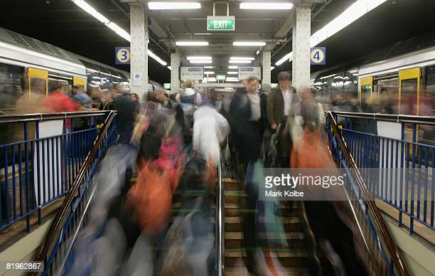 A general view is seen as commuters get on and off the train at Wynyard Station in the Sydney CBD after venturing into the Sydney CBD to watch The...