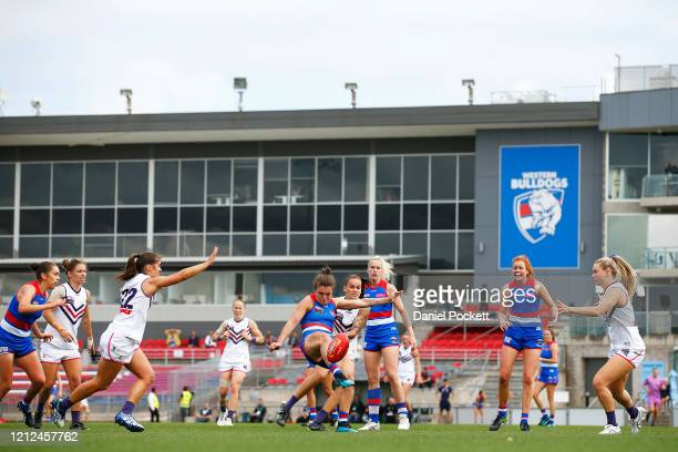 General view is seen as Ellie Blackburn of the Bulldogs kicks the ball during the round six AFLW match between the Western Bulldogs and the Fremantle...