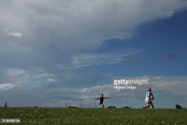 A general view is seen as Eloise Jones of the Crows looks upfield during the round two AFLW match between the Melbourne Demons and the Adelaide Crows...