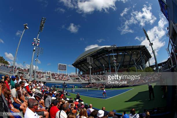 General view is seen as Eugenie Bouchard of Canada takes on Anastasija Sevastova of Latvia during day one of the 2019 US Open at the USTA Billie Jean...