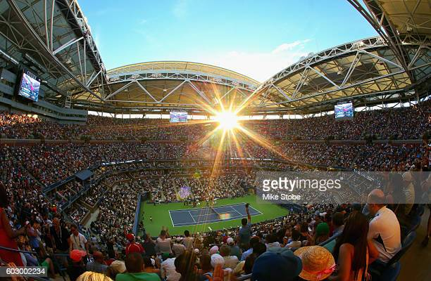 General view is seen as fans watch play as Novak Djokovic of Serbia takes on Stan Wawrinka of Switzerland during their Men's Singles Final Match on...
