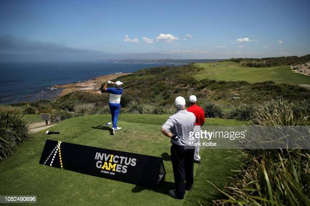 A general view is seen as former Prime Minister of New Zealand Sir John Key GNZM AC hits a tee shot during the Golf Open of the Invictus Games at The...