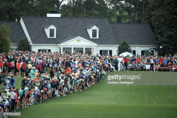 A general view is seen as Francesco Molinari of Italy plays his tee shot on the first hole during the final round of the Masters at Augusta National...