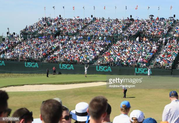 A general view is seen as Francesco Molinari of Italy putts during the final round of the 2018 US Open at Shinnecock Hills Golf Club on June 17 2018...