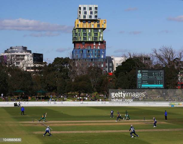 A general view is seen as George Bailey of Tasmania bats during the JLT One Day Cup match between Victoria and Tasmania at Junction Oval on October...