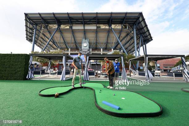 A general view is seen as guests play golf outside of Arthur Ashe Stadium on Day Four of the 2020 US Open at the USTA Billie Jean King National...
