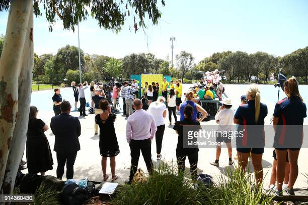 General view is seen as Head coach Lisa Alexander speaks to media during the Australian Netball Commonwealth Games Team Announcement at State Netball...
