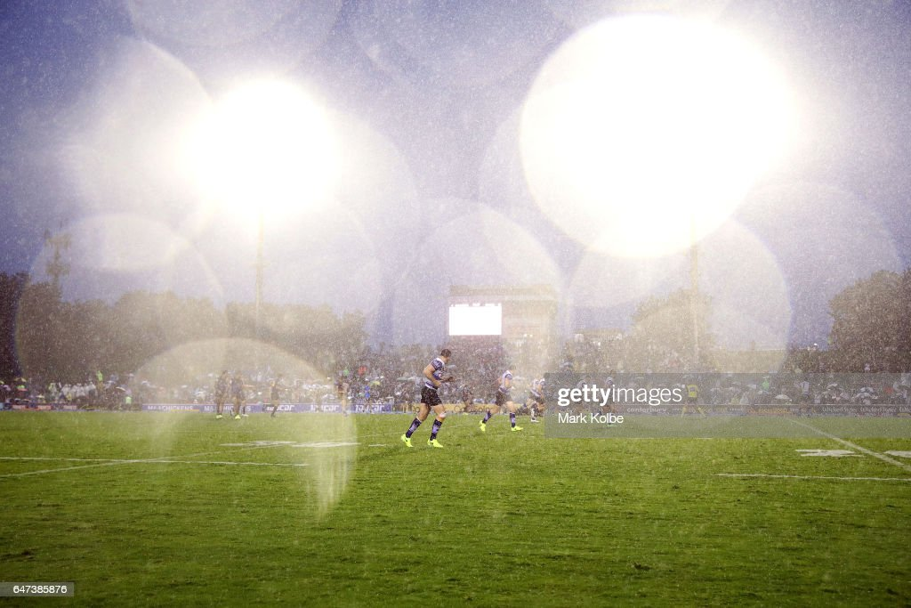 A general view is seen as heavy rain falls during the round one NRL match between the Canterbury Bulldogs and the Melbourne Storm at Belmore Sports Ground on March 3, 2017 in Sydney, Australia.