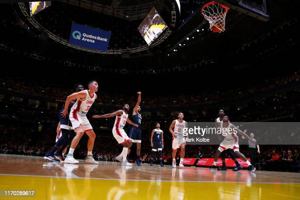 General view is seen as Jayson Tatum of the USA hits a free throw during the International Friendly Basketball match between Canada and the USA at...