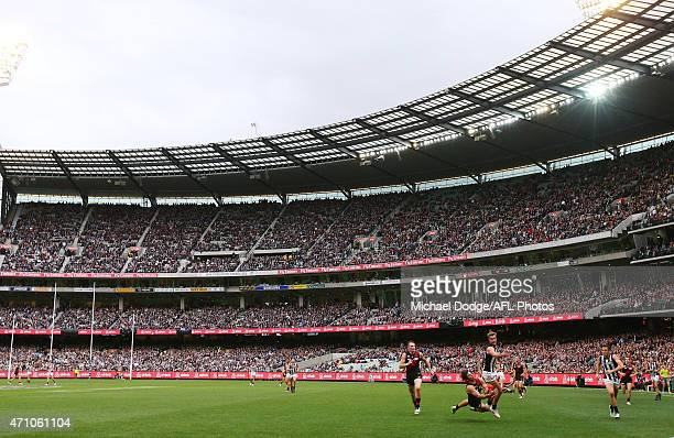 A general view is seen as Mark Baguley of the Bombers marks the ball during the round four AFL match between the Essendon Bombers and the Collingwood...
