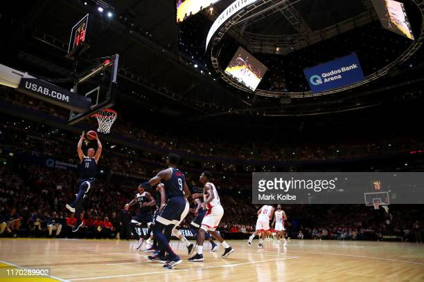 General view is seen as Mason Plumlee of the USA wins the rebound during the International Friendly Basketball match between Canada and the USA at...