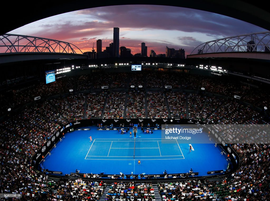 Highlights from australian open 2018 the best in tennis battle in a general view is seen as nick kyrgios of australia and grigor dimitrov of bulgaria play stopboris Choice Image