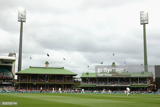 A general view is seen as play is undertaken under lights during the first session of day one of the third Test match between Australia and the West...