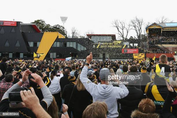 A general view is seen as Richmond Tigers players celebrate winning yesterday's AFL Grand Final at Punt Road Oval on October 1 2017 in Melbourne...