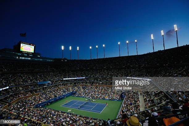 A general view is seen as Serena Williams of the United States plays against Victoria Azarenka of Belarus during their women's singles final match...