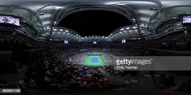 General view is seen as Serena Williams of the United States plays against Karolina Pliskova of the Czech Republic during their Women's Singles...