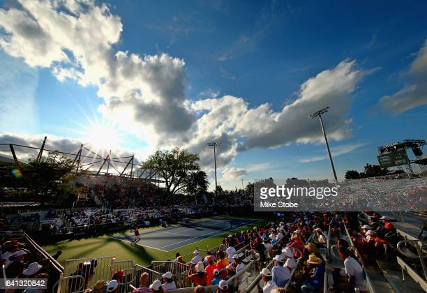 A general view is seen as Taylor Fritz of the United States plays against Dominic Thiem of Austria in their second round Men's Singles match on Day...
