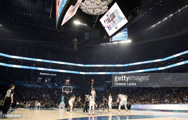 A general view is seen as Team LeBron tipsoff against Team Giannis during the NBA AllStar game as part of the 2019 NBA AllStar Weekend at Spectrum...