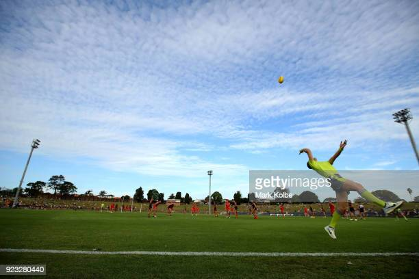 A general view is seen as the boundary umpire throw the ball into play during the AFL Inter Club match between the Sydney Swans and the Greater...