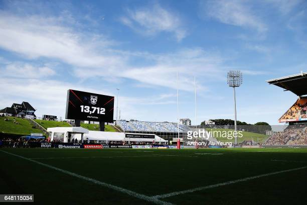 General view is seen as the crowd number is shown on the new giant screen during the round one NRL match between the New Zealand Warriors and the...