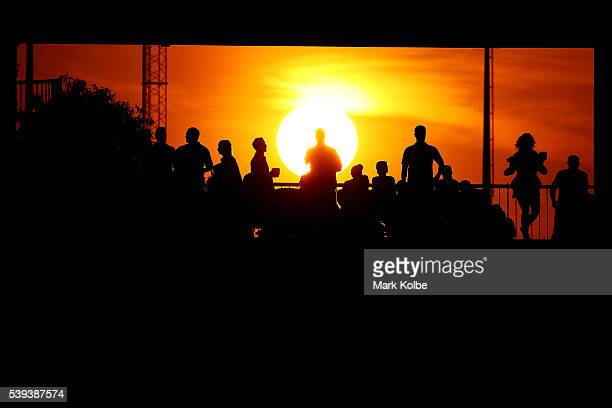 A general view is seen as the crowd watch on as the sun sets during the round 14 NRL match between the Parramatta Eels and the Gold Coast Titans at...