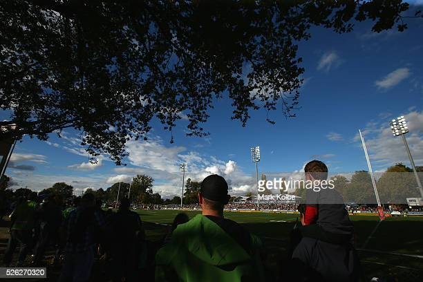 A general view is seen as the crowd watches on during the round nine NRL match between the Penrith Panthers and the Canberra Raiders at Carrington...