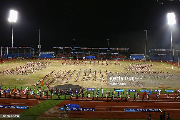 A general view is seen as the flags of participating nations are marched around the stadium during the Samoa 2015 Commonwealth Youth Games Closing...