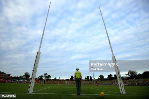 A general view is seen as the goal umpire signals a goal during the AFL Inter Club match between the Sydney Swans and the Greater Western Sydney...