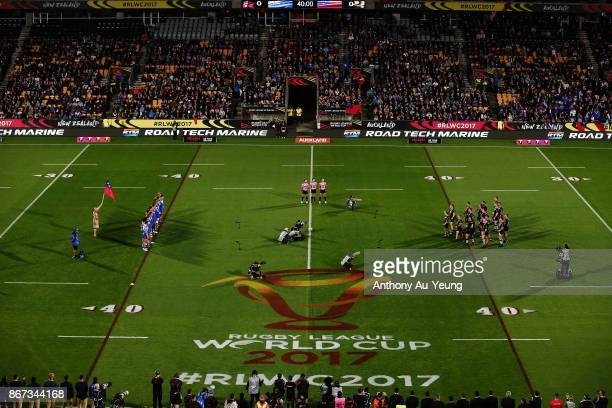 General view is seen as the Kiwis perform the haka during the 2017 Rugby League World Cup match between the New Zealand Kiwis and Samoa at Mt Smart...