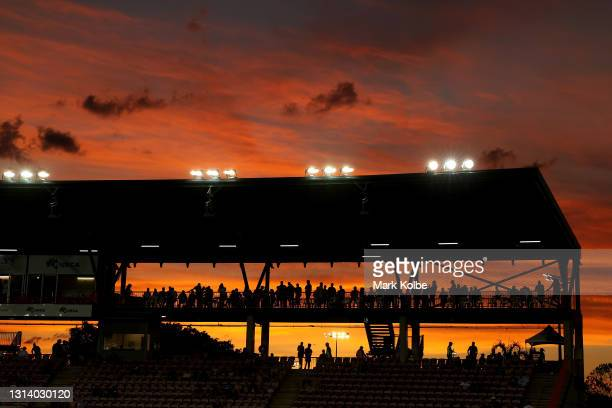 General view is seen as the sun sets before the round seven NRL match between the Parramatta Eels and the Brisbane Broncos at TIO Stadium, on April...