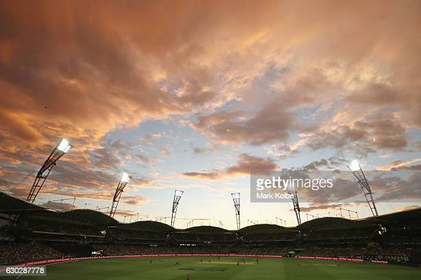 A general view is seen as the sun sets during the Big Bash League match between the Sydney Thunder and the Sydney Sixers at Spotless Stadium on...