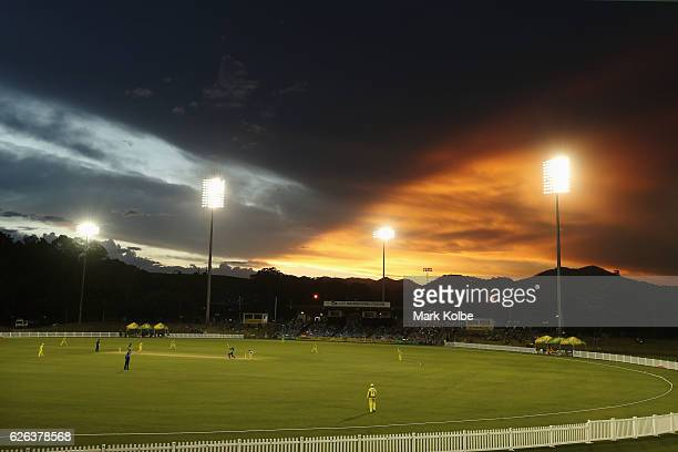 General view is seen as the sun sets during the women's one day international match between Australia and South Africa on November 29, 2016 in Coffs...