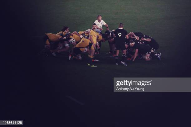 General view is seen as the Wallabies pack down a scrum with the All Blacks during The Rugby Championship and Bledisloe Cup Test match between the...