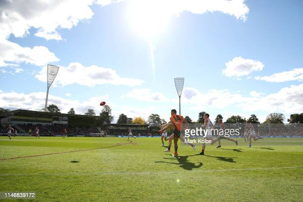 A general view is seen as Tim Taranto of the Giants kicks toward goal during the round seven AFL match between the Greater Western Sydney Giants and...