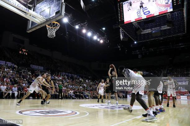 General view is seen as Todd Blanchfield of the Hawks shoots from the free throw line during the round 15 NBL match between the Illawarra Hawks and...