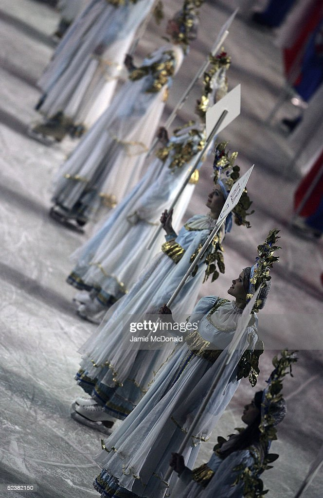 A general view is seen at the opening ceromony during the ISU World Figure Skating Championships at the Lunzhiki Sports Palace on March 13, 2005 in Moscow, Russia.