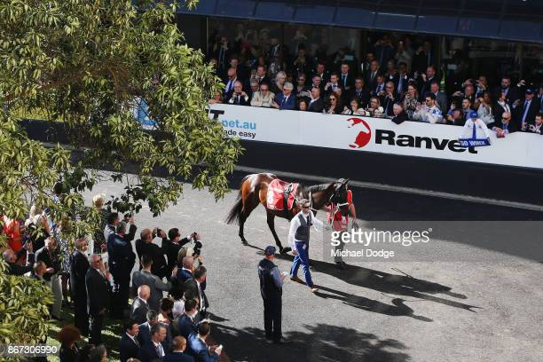 A general view is seen before the race of Winx before the horse won race 9 the Ladbrokes Cox Plate during Cox Plate Day at Moonee Valley Racecourse...