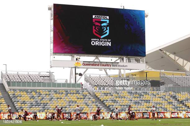 General view is seen during a Queensland Maroons State of Origin training session at Queensland Country Bank Stadium on June 08, 2021 in Townsville,...