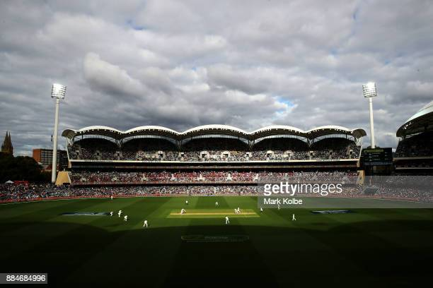 General view is seen during day two of the Second Test match during the 2017/18 Ashes Series between Australia and England at Adelaide Oval on...