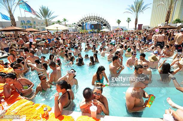 A general view is seen during DJ Thomas Gold performance at Daylight Beach Club at the Mandalay Bay Resort Casino on June 8 2013 in Las Vegas Nevada