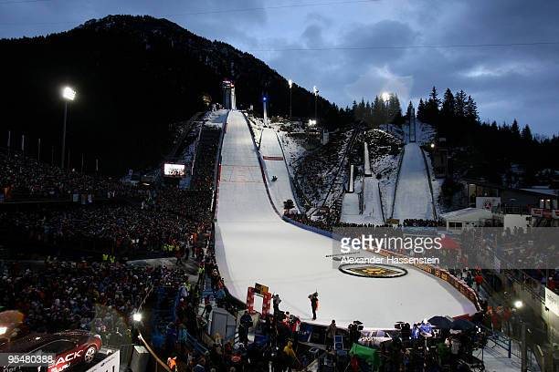 A general view is seen during final for the FIS Ski Jumping World Cup event at the 58th Four Hills ski jumping tournament at Erdinger Arena on...