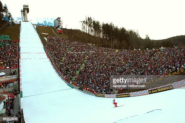 A general view is seen during final round of the FIS Ski Jumping World Cup event of the 58th Four Hills ski jumping tournament on January 3 2010 in...