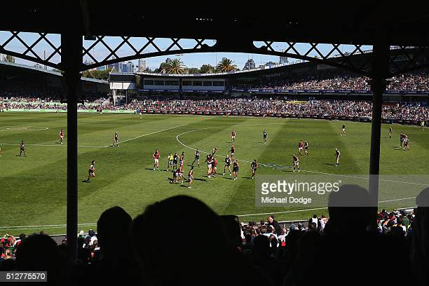 A general view is seen during the 2016 AFL NAB Challenge match between Carlton and Essendon at Ikon Park on February 28 2016 in Melbourne Australia