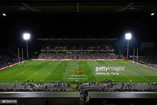 General view is seen during the 2017 Rugby League World Cup match between the New Zealand Kiwis and Samoa at Mt Smart Stadium on October 28, 2017 in...