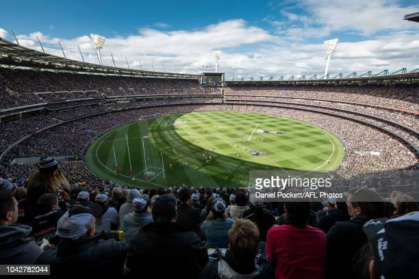 A general view is seen during the 2018 Toyota AFL Grand Final match between the West Coast Eagles and the Collingwood Magpies at the Melbourne...