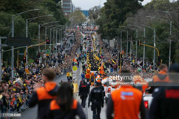 A general view is seen during the 2019 AFL Grand Final Parade on September 27 2019 in Melbourne Australia