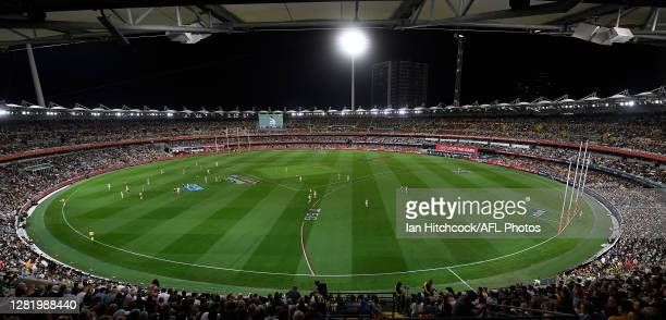 General view is seen during the 2020 AFL Grand Final match between the Richmond Tigers and the Geelong Cats at The Gabba on October 24, 2020 in...