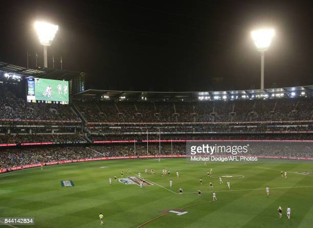 A general view is seen during the AFL Second Qualifying Final Match between the Geelong Cats and the Richmond Tigers at Melbourne Cricket Ground on...